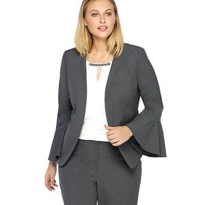 The Limited Gray Open Front Bell Sleeve Blazer NWT